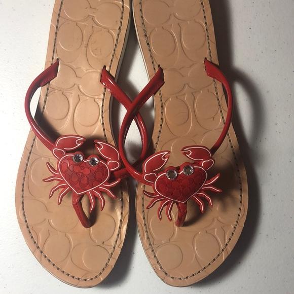 c15798c2b Coach Shoes - Coach Red Crab Sandals size 9.5